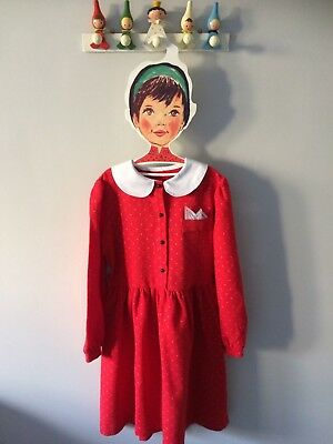 Girls Pretty Vintage Red Collared  Dress Age