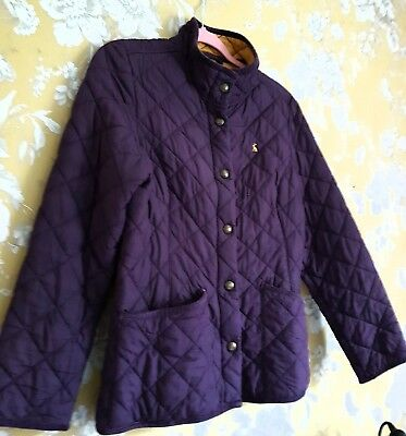 Joules Ladies Jacket Paadded Purple With Mustard Lining Size 14