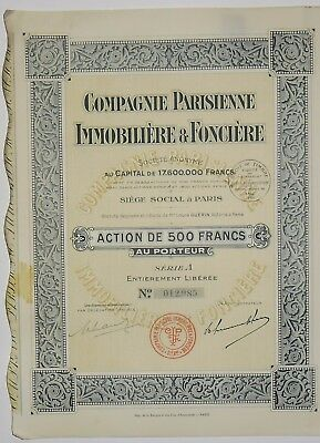 Compagnie Immobilien in Paris und Land Aktion der 500 frs 1929 (012985)