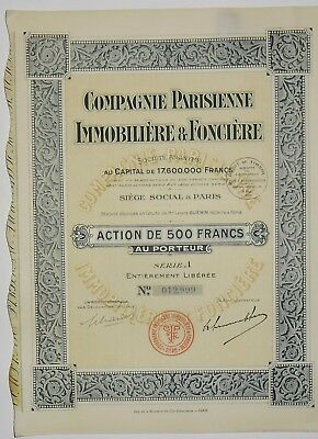 Compagnie Immobilien in Paris und Land Aktion der 500 frs 1929 (012999)