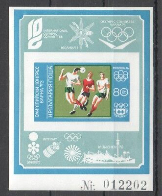 A810 !!! Imperforate Bulgaria Football Olympic Games Congress Varna 73 Bl Mnh