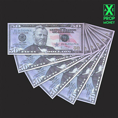 $250 Hollywood Movie Style US 50 Dollars Full Print HQ Prop Paper Money