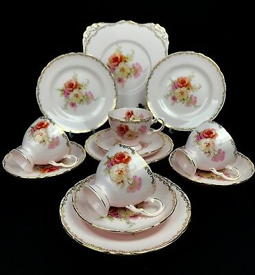 Royal Tuscan Pink And Gold Vintage Tea Set For Four Tea Cup Trio Floral