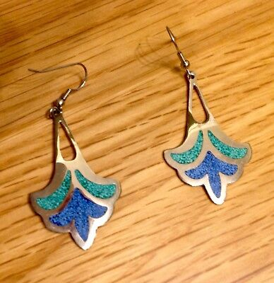 Vintage Mexican Alpaca Silver Drop Earrings With Stone Inlays