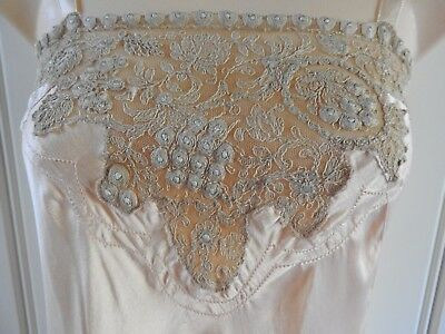 Lovely True Vintage 1930s Silk Cami Knickers Play Suit French Lace Lingerie