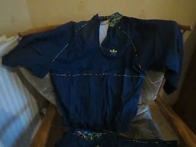 VINTAGE LADIES  1980's SHELL SUIT - Adidas navy blue size 38/40