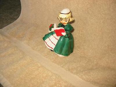 Vintage 1956 NAPCO ChristmasGirl Shopper in Green with Book Figurine