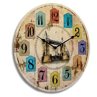 Vintage Round Wood Wall Clock Wooden Reminiscence Decor Style