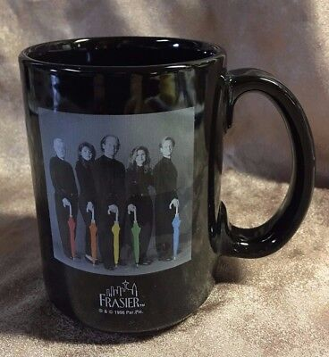 1996 Black Mug Frasier TV Cast on front Eddie the Dog on back Linyi