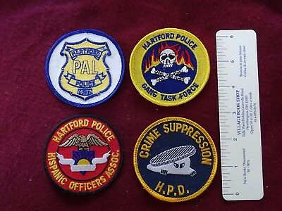 4 Different Round Hartford, Connecticut Various Patches