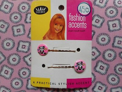 Two vintage 60's 70's kitsch hair bobby pins, clips, grips, slides, pink panda