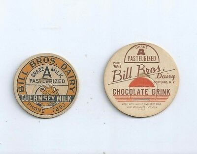 "Two different ""Bill Bros. Dairy""  Cortland, N.Y.  milk bottle caps."