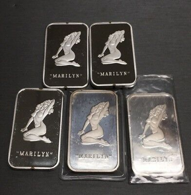 Amazing Rare Marilyn 100 Mills 999 Fine Silver Five 1 Oz Ingots Bar Naughty Nude