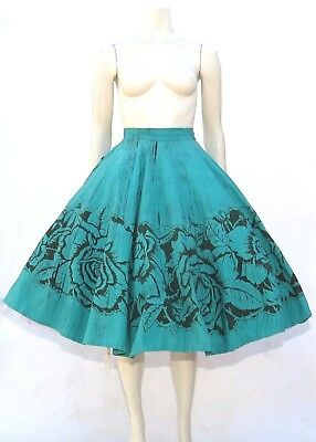 Vtg 1950s Hand Painted Mexican Circle Skirt Black Roses Green Floral Novelty