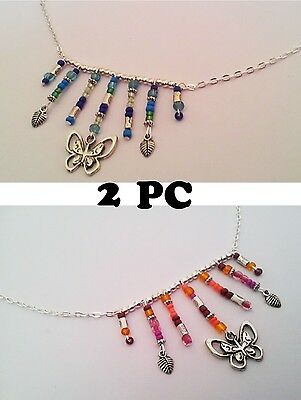 Gypsy Style Silver Butterfy Necklaces Pendant HANDMADE LOT 2PC