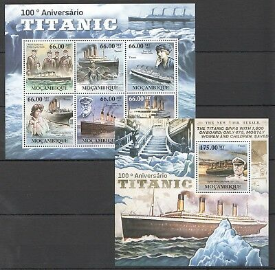 Z951 2011 Mocambique Ships & Boats Titanic 1Kb+1Bl Mnh