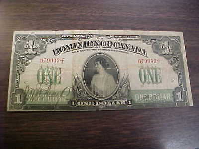 1917 Dominion Of Canada One 1 Dollar Note Ottawa Boville No Seal Handsigned Left