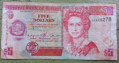 Belize 5 Dollars Banknote Queen Elizabeth Cash Central American Paper Money