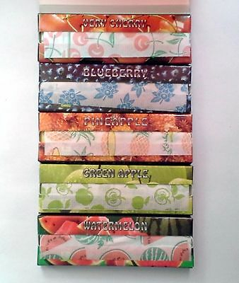 5 Fruit Flavoured Booklets Cigarette Tobacco 250 Rolling Papers 50 Leaves p/Pk *
