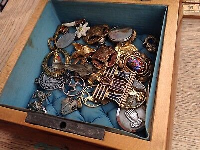 A Vintage Inlaid Jewellery Box With Key Containing Vintage Charms, Religious Etc