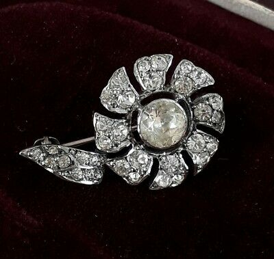 Antique Solid Silver Old Diamond Paste Stone Flower Brooch Vintage Jewellery
