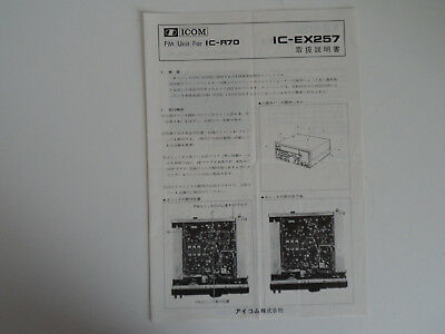 Icom-R70 Ex257(Genuine Instruction Leaflet Only)..........radio_Trader_Ireland.