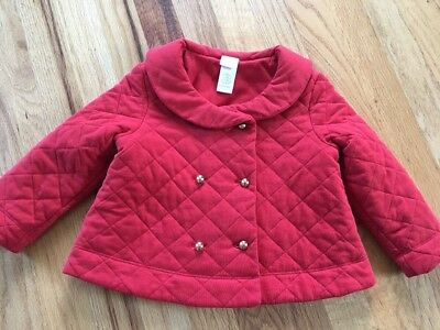 Janie And Jack Girl Red Quilted Jacket Coat Spring Lightweight  18-24M christma