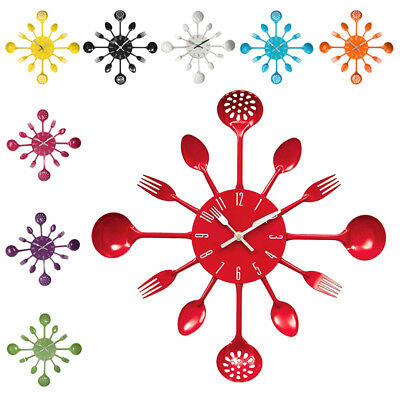 SS Housewares Cutlery Wall Clock - Red