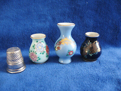 """Miniature Japanese Vases, Set of 3, Gold Trim - 1"""" and 1-1/2"""", Artist Signed"""