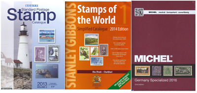 Full set world stamp catalog catalogue Scott + Yvert + Michel + Gibbons