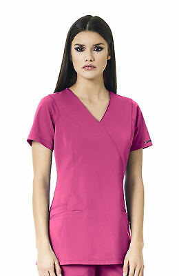 "Wonder Wink Style 6312 V-Neck Mock Wrap 4-Stretch Scrub Top in ""Fuchsia"" Size S"