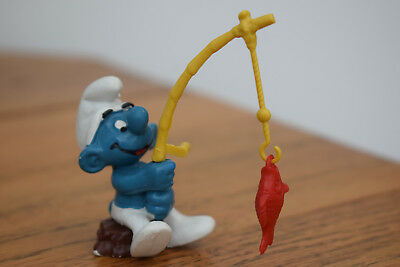 fishing yellow rod reel red fish smurf collectable collection retro toy original