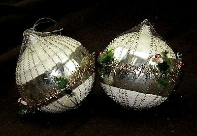 2 Antique Wire Wrapped Mercury Glass Christmas Tree Ornaments Mushrooms Tinsel
