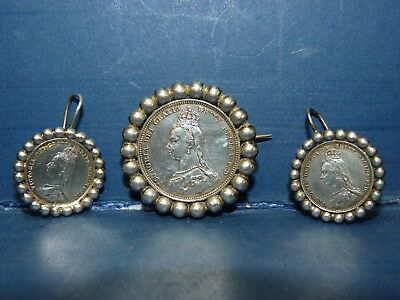 Queen Victoria Silver 1887 One Shilling Brooch & Threepence Earrings