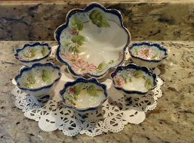 Te-Oh China Hand Painted Nippon 6 Piece Berry Bowl Set