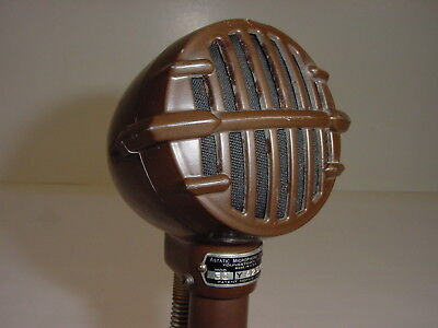 Vintage 1940 Astatic 30 Prewar JT-30 Brown Harp Bullet Mic Microphone w/ Handle