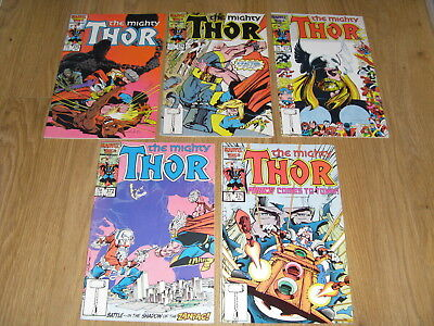 MARVEL COMICS ... The MIGHTY THOR ... Comic Lot mid 1980's ( #371 to 375 )