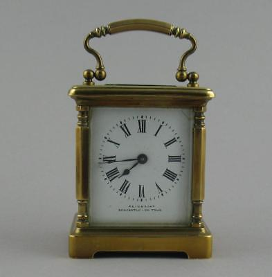 Small Antique French Brass Carriage Clock REID & SONS NEWCASTLE ON TYNE 3 3/4""