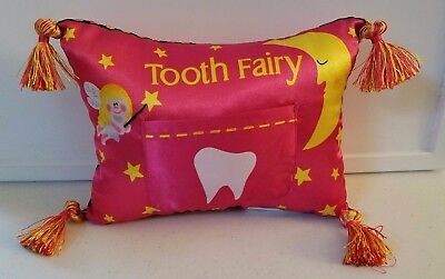 BRAND NEW-- TOOTH FAIRY PILLOW WITH TOOTH POCKET and TASSELS BLUE/PINK OPTIONS