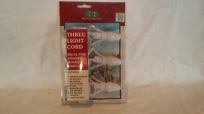 Dept 56 Village 3 Socket Replacement Light Cord with Bulbs NIB