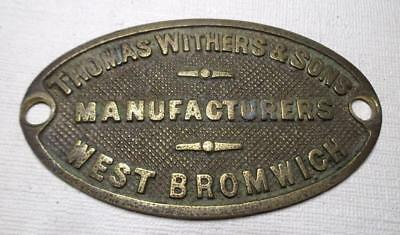 vintage THOMAS WITHERS & SONS brass Safe Maker's Plaque, plate West Bromwich