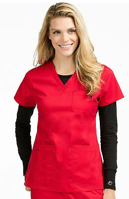 "Med Couture MC2 Style 8496 V-Neck Contrast Accents Scrub Top in ""Red"" Size XS"
