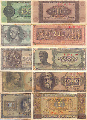 Greece  - 10 Different Greek Banknotes (Lot-18)