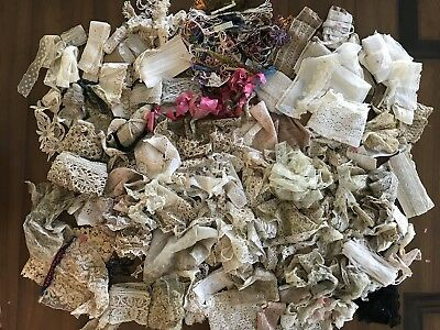 Antique Lot of Lace Crochet Trim Ribbon Edging Glossilla Skein Mixed Vintage