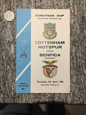 Tottenham V Benfica European Cup Semi Final Second Leg (1962) Official program