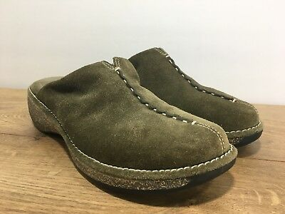 ae6b588e20d Clarks Olive Green Nubuck Leather Clogs Wedge Heel Mules US Women s Size 6M  (Q1)