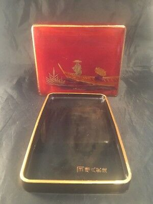 Vintage Japanese Lacquered ? Box And Tray