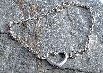 Sterling Silver Hollow Heart Ankle Chain Bracelet Anklet