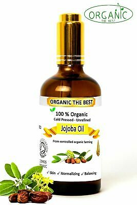 Jojoba Oil 100% Organic Cold Pressed Undiluted,Certified, Premium Quality 100 ml