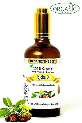 Jojoba Oil 100% Organic Cold Pressed Undiluted,Certified, Premium Quality 50 ml